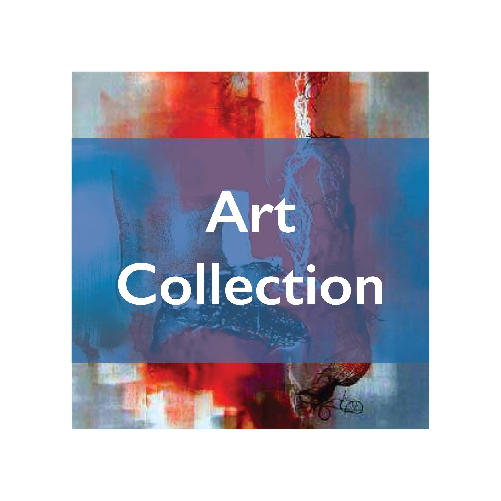 "abstract painting with blue bar over center with white text that reads ""art collection"""